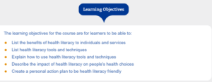 Health literacy_Learning Objectives